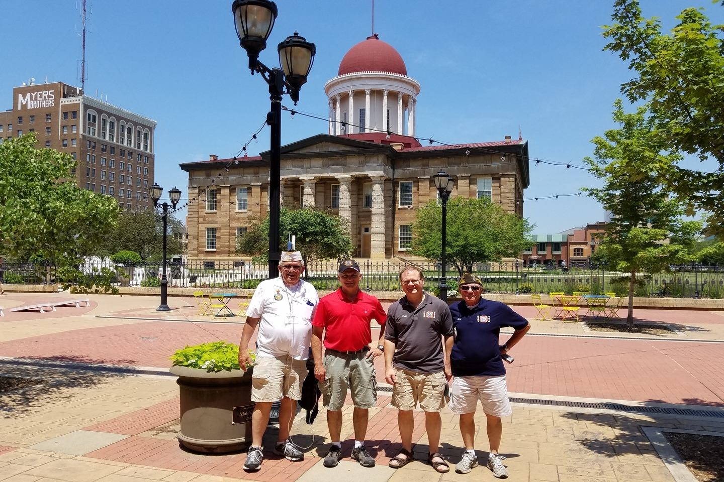 Comrades in front of the Old Capital Building in Springfield, IL